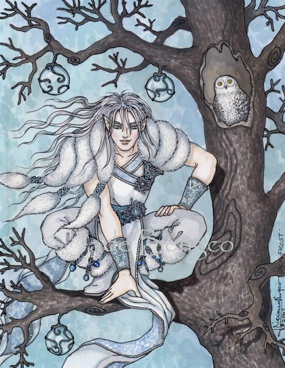 JACK FROST, Snowy Owl, Winter scene Limited edition art print