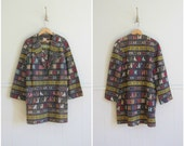 indian textile jacket / 1950s south american coat / woven cotton jacket