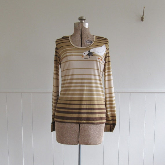 SALE 1960s vintage CUFFED DUCK long sleeved t shirt