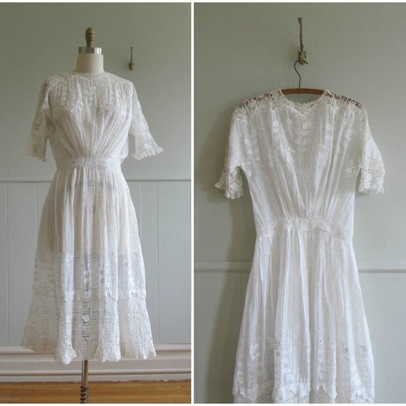 reserved 1900s vintage edwardian white lace summer tea gown reserved