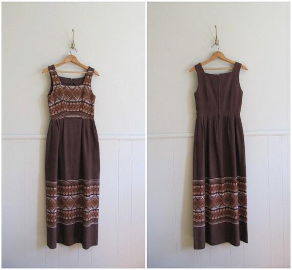 embroidered maxi dress / vintage 1960s cotton maxi dress