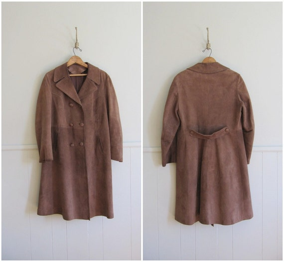 1970s vintage neutral suede military coat