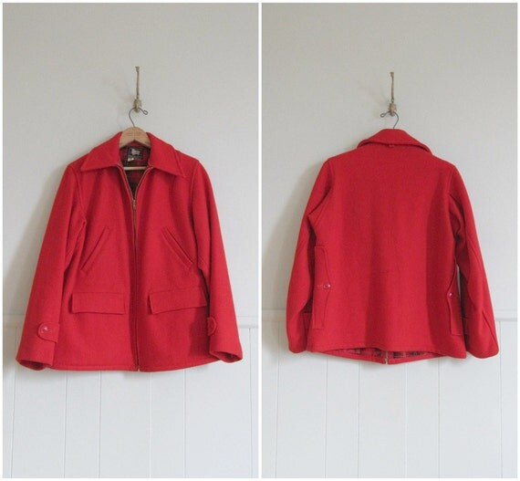 1960s vintage poppy red woolrich hunting jacket