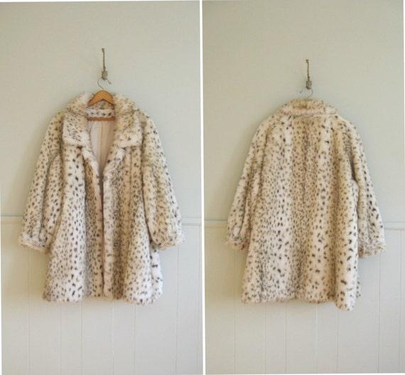 1960s vintage soft and creamy faux leopard fur coat