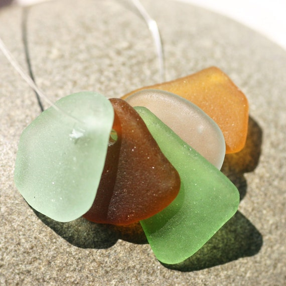 Top drilled Seaglass in Mixed Colors. 5 Pieces. Seafoam, Aqua, Green, Amber & Brown. Charm Sized.