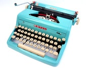 Fully Serviced 1950s Turquoise Blue Royal Typewriter w/ case, Owners Manual , Metal Ribbon Spools