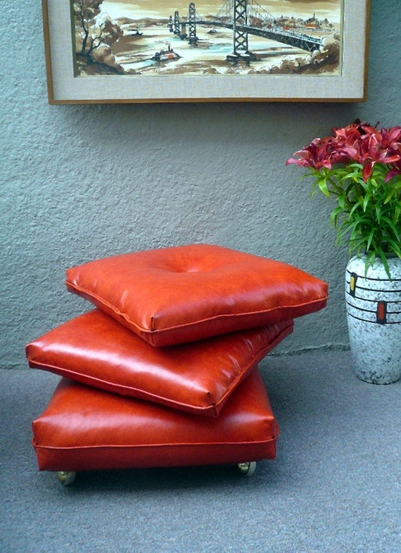 Orange Floor Pillows : 1960s Orange Stacking Floor Cushions Pillows