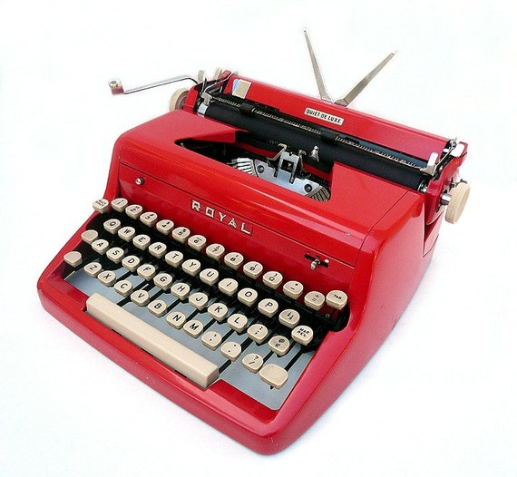 PROFESSIONALLY SERVICED 1955 Red Royal Quiet DeLuxe Typewriter