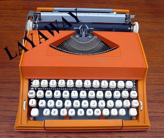 RESERVED xrys - Orange Olivetti  Manual Typewriter with CasePROFESSIONALLY RESTORED