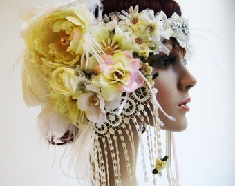 Headpiece - Design your own Luxurious Headpiece with Vintage and New Beading, Feathers and Flowers