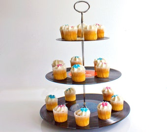 Cupcake Stand - Upcycled Vinyl Records