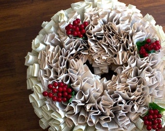 Paper Wreath Huge - Recycled VIntage Book Decorate for Christmas