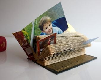 Folded Vintage Book Art - Stepped Desk Photo Business Card Desk Organiser