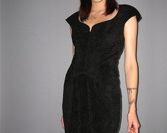 NYE Vintage Black Suede Leather Dress Holiday Mini Rocker Bandage Bodycon 1980's 1990's 80s 90s XS small medium