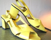 Vintage 60's MAD MEN Leather Sandals Bright Lemon Yellow Strappy Buckle Slingback High Heel Pumps 1960's Socialites Made in Italy Shoes