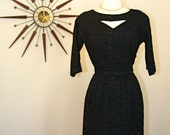 Vintage 1950's to 1960's Little Black Wiggle Dress Three Quarter Sleeve Sexy Floral Embroidered Retro MAD MEN era Cocktail Dress