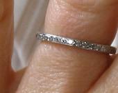 Thin Diamond and Platinum Eternity Wedding Band Beautiful Romantic Antique Classic Design 20s Look Micro Pave Setting Wedding Ring
