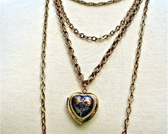 Vintage Statement Necklace Blue Enamel Heart Locket Multi Chain 4 Strand Four Tier Gold Fill Tiered Drop Pendant 80s Digital Clock Locket