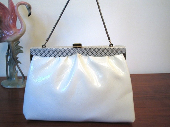 Vintage 1960's MOD White Thin Handbag Real Patent Leather Clutch Bag Geometric Enamel Frame Snake Chain MAD MEN 60's Bag