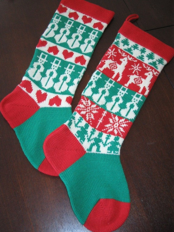 1970 S Knit Wool Christmas Stocking