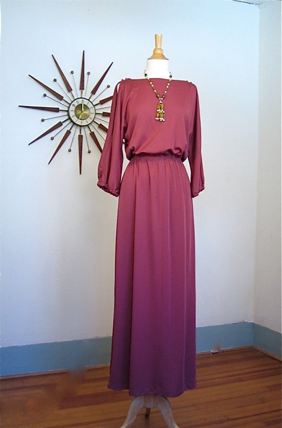 SALE- Vintage 1970s Flowy Hippie Maxi Dress Sexy Slinky Dusty Rose Long Bohemian Gown Peekaboo Slits 70s Maxi Dress