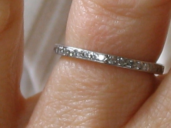 Thin Diamond and Platinum Eternity Wedding Band Beautiful Romantic Antique Classic Design 20s Look Micro Pave Setting Wedding Ring