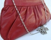 GATHERED Carmine Red Clutch in Nappa Leather