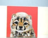 cheetah cub (original painting on wood)