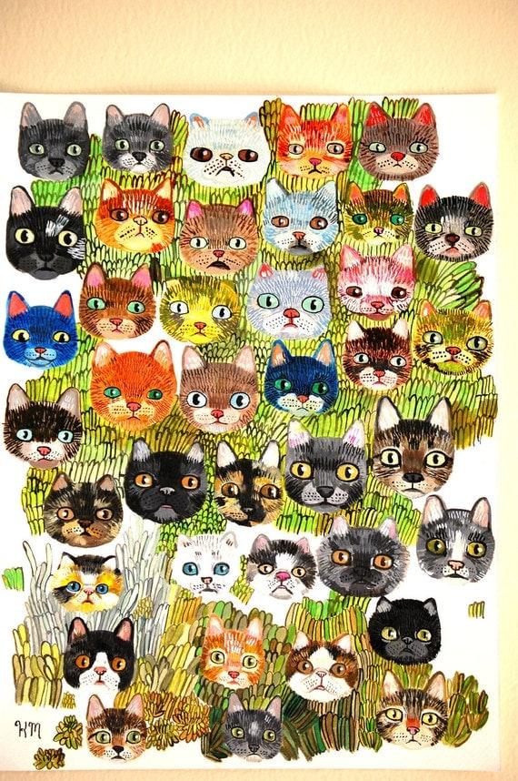 39 cat faces (original painting on paper)