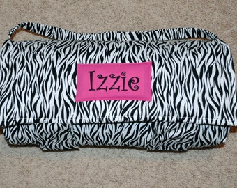 Nap Mat - Monogrammed Zebra Nap Mat with Hot Pink Double-sided Minky or Minky Dot Blanket