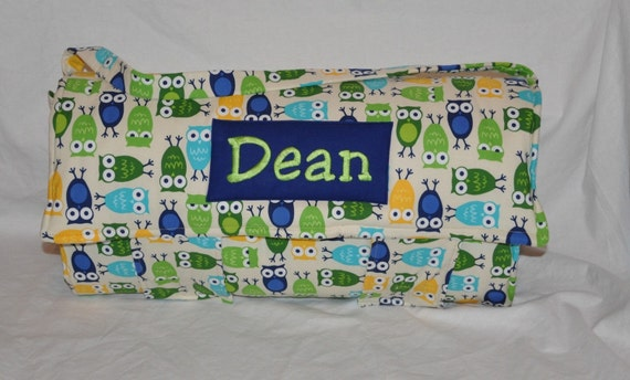 Nap Mat - Monogrammed Owls Nap Mat with Navy Double-sided Minky or Minky Dot Blanket