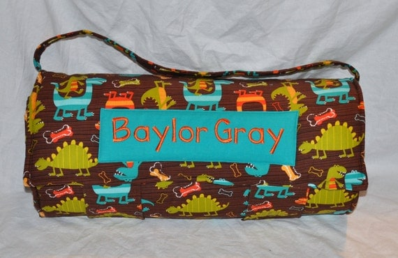 NAP MAT - Monogrammed Dino Dudes in Brown Nap Mat with Turquoise Double-sided Minky or Minky Dot Blanket