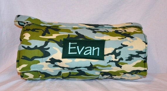 Nap Mat - Monogrammed Seafoam Camouflage Nap Mat with Olive Double-sided Minky Blanket