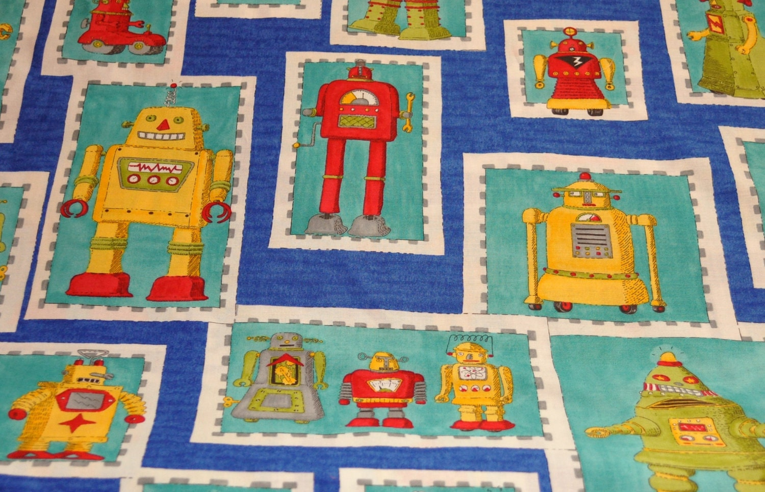 Robot fabric robotics in blue by ingrid slyder from moda for Robot quilt fabric