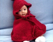 Knit little red riding hood hooded poncho