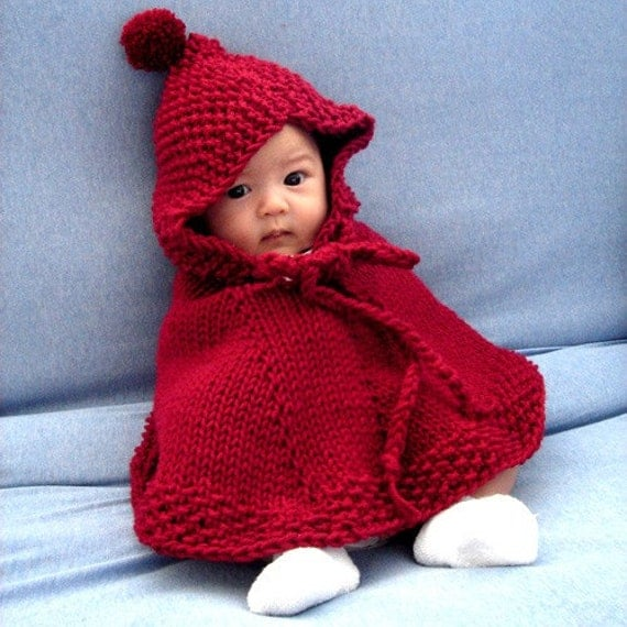 Knit little red riding hood hooded poncho by embeshop on Etsy