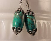 turquoise and hill tribe silver  earrings: Faberge Turquoise Eggs