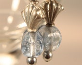 beaded earrings fluted scallop and pinched atelier glass pale blue