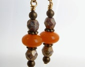 resin and glass earring honey and cream nickel free