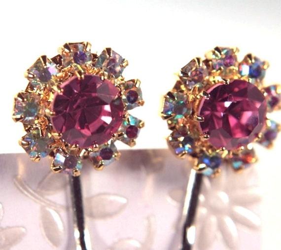 rhinestone bobby pins  czech vintage nos pink and aurora borealis