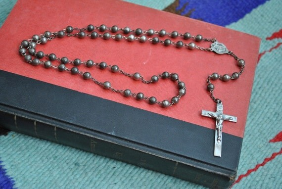 old sterling silver rosary chain necklace