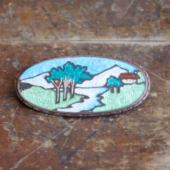 guilloche landscape / a brooch