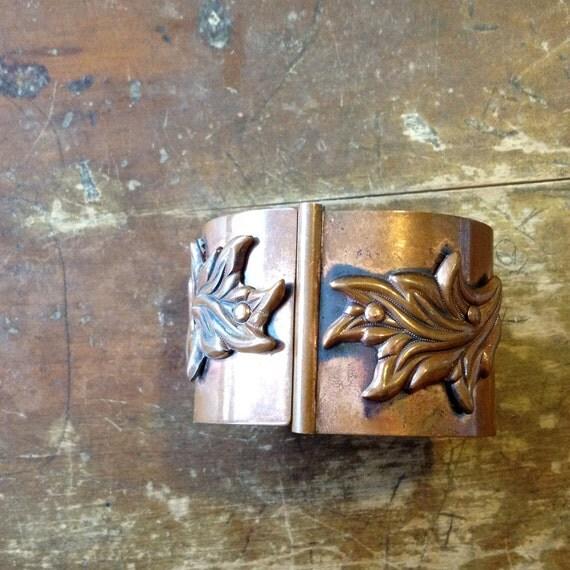 copper leaves / a wide hinged bangle bracelet