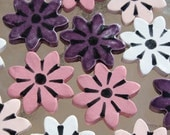 Ceramic daisy tiles - pink, purple, white - great for mosaic