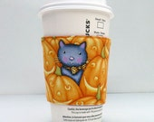 Coffee Sleeve Cozy Velcro - Pumpkins, Bats and Cats