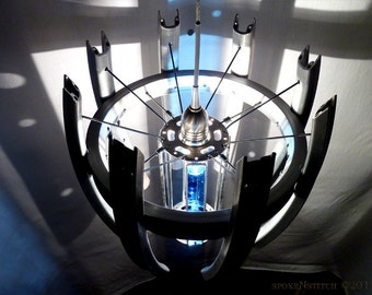 Pendant Lamp Bicycle Hub Rim Spoke Recycled Ceiling Light Industrial Steampunk UFO Space Station Satin Nickel