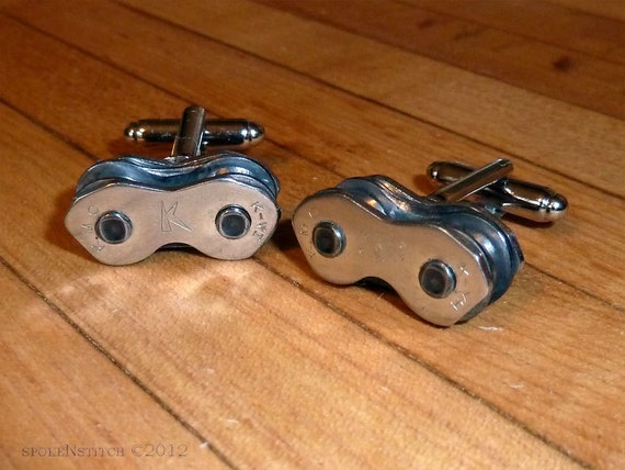 Cuff Links Mens Bicycle Chain Bike Chain Upcycled - Cyclist Racer - Mountain biker - Motorbike