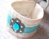 SALE Amphitrite. Fabric Cuff. Bracelet. Vintage Cabochon. Aqua Blue. Lace. Ribbon. OOAK Jewellery Jewelry Two Cheeky Monkeys Aquamarine