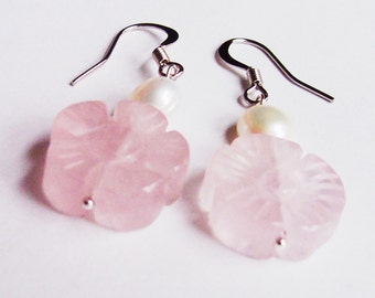 Botanical Rose Quartz Earrings Freshwater Pearl Jewellery Jewelry Ivory Off White. Pastel Pink Two Cheeky Monkeys Dangly Dangle Floral