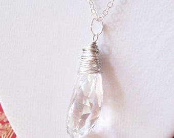Chunky Swarovski Crystal Necklace Icicle Wire Wrapped Pendant Jewellery. Jewelry Statement Clear Winter Silver. Handmade For Her Handmade